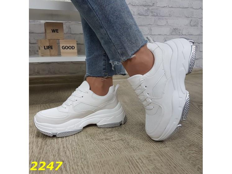 Кроссовки белые на высокой платформе 36 р. (2247)