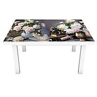 Виниловая наклейка на стол Аристократические пионы (на мебель интерьерная ПВХ 3Д) цветы серый 600*1200 мм