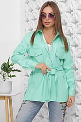 Рубашка женская мятная с длинными рукавами. Эко кожа полиэстер. Повседневная, офисная рубашка