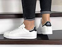 Кросівки Adidas Stan Smith білі з чорним – жіночі, підліткові кросівки в стилі Адідас