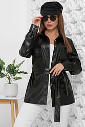 Рубашка женская черная с длинными рукавами. Эко кожа полиэстер. Повседневная, офисная рубашка