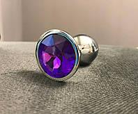 Анальна пробка кристал фіолетовий розмір S + чохол, фото 1