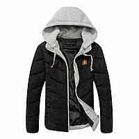 Куртка мужская на зиму со съемным капюшоном Черный