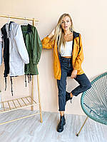 Стильная женская куртка ветровка двухсторонняя 42-44 46-48 чёрный/хаки чёрный/горчица