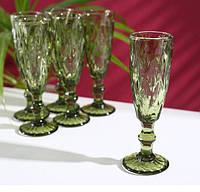 Набор бокалов для шампанского «Круиз», 160 мл, 7×20 см, 6 шт, цвет зелёный