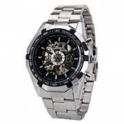 Мужские механические наручные часы в стиле Winner Skeleton Luxury Silver