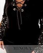 Красивый женский велюровый спортивный костюм расшитый пайетками батал  с 50 по 60 размер, фото 3