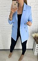 Женский пиджак стильный 3 расцветки,Норма и батал цвет голубой.