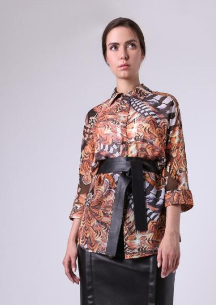 Женская шифоновая блуза в яркий анималистический принт Lesya Карон 6 48