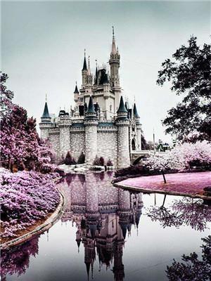 Картина по номерам на дереве 40*50см. 3265RAD Замок у реки в подарочной коробке