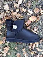 Женские UGG Australia черные низкие кожаные VO-18