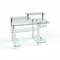 Стол компьютерный с полками из органики стекла и металла модель Лео
