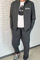 Стильний осінній чоловічий спортивний костюм з структурного трикотажу (р. 46-52). Арт-1607/47 сірий