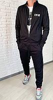 Стильний осінній чоловічий спортивний костюм з структурного трикотажу (р. 46-52). Арт-1607/47 чорний