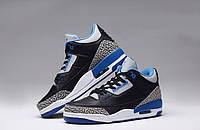 Баскетбольные кроссовки Nike Air Jordan 3 AJ3 Blue/Gray/Black/White, найк джордан