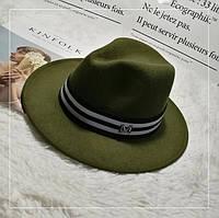 Шляпа женская фетровая Федора с лентой в стиле Maison Michel и устойчивыми полями зеленая (хаки)