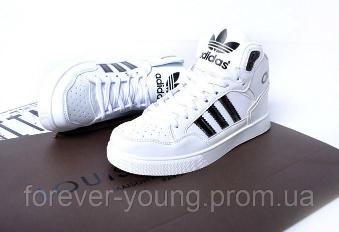 9f74d6aa Кроссовки унисекс Adidas high высокие белые с черными полосками копия -  Интернет-магазин