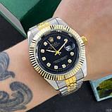 Наручные часы Rolex Date Just Silver-Gold-Black, фото 2