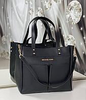 Вместительная черная женская сумка на плечо шоппер большая экокожа