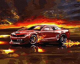 """Картина по номерам """"Вогняний драйв"""" Сложность: 4 (Авто, автомобиль, машина, для мужчины, для мальчика, огонь)"""
