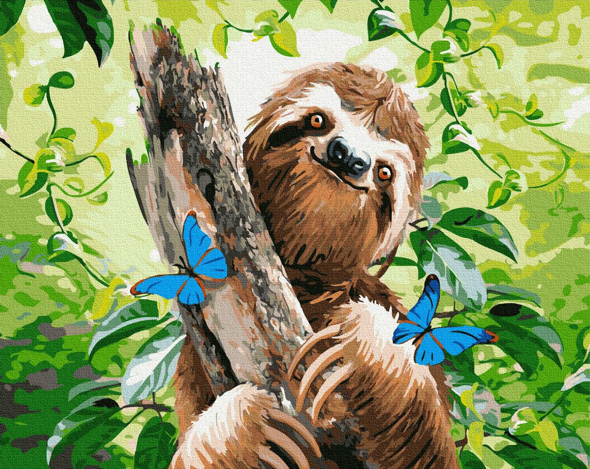 """Картина по номерам """"Щасливий лінивець"""" Сложность: 3 (ленивец, смешная, прикольная, забавная, животные)"""