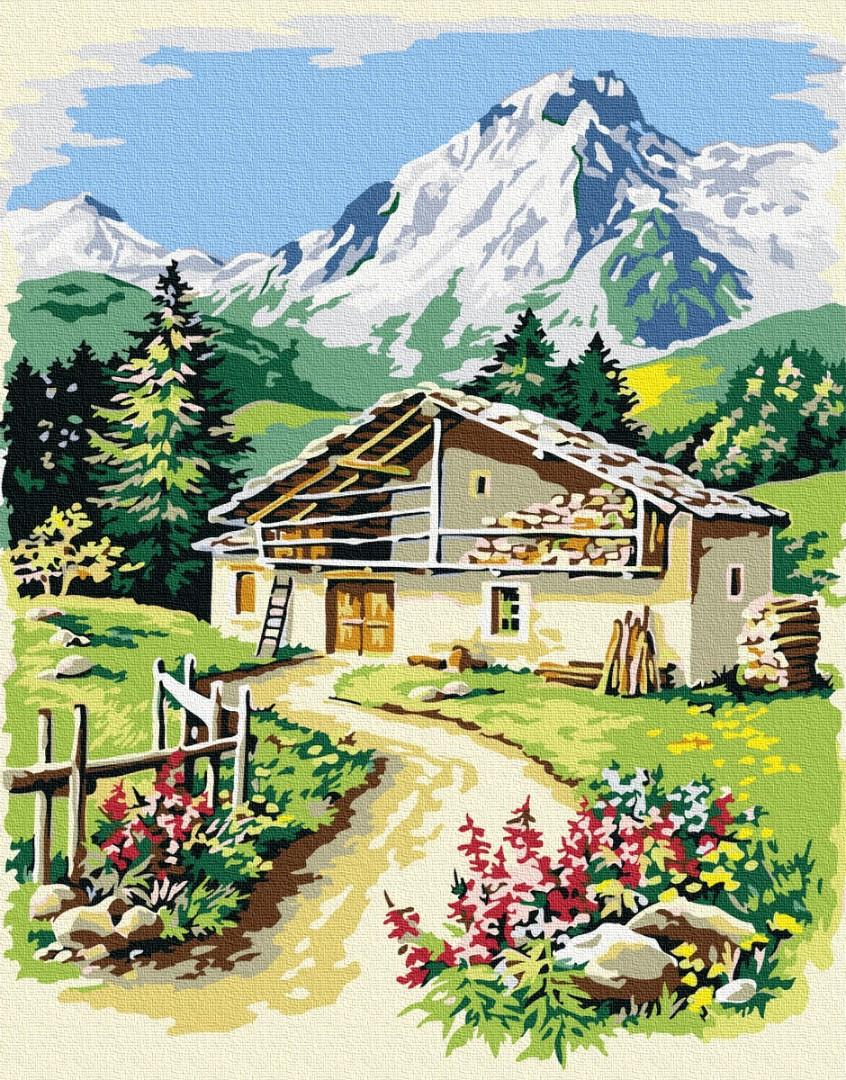 """Картина по номерам """"Будиночок у підніжжя гір"""" Сложность: 1 (горы, горный пейзаж, домик, сельский пейзаж, домик у гор, дом у гор)"""