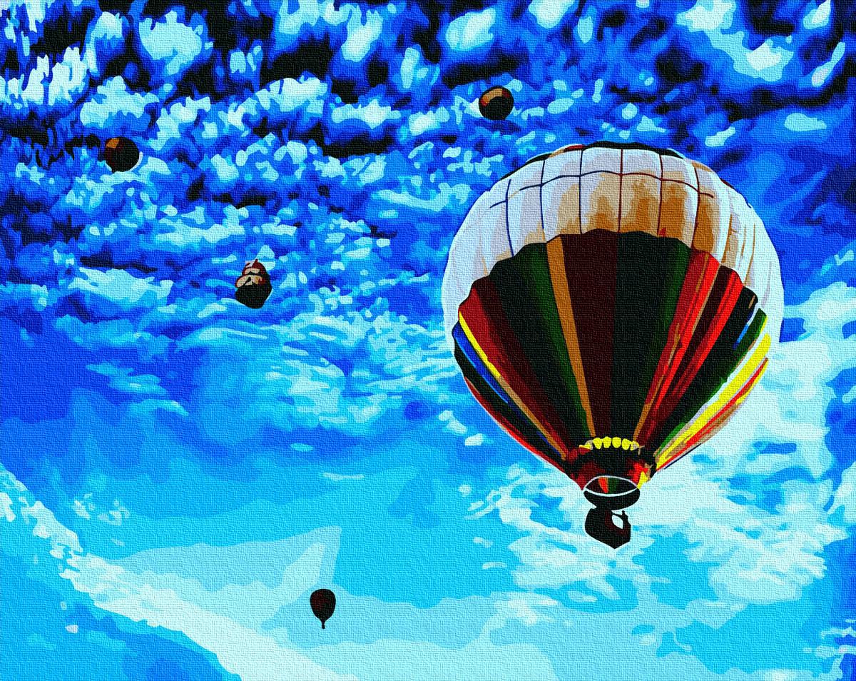 """Картина по номерам """"Політ у волошкове небо"""" Сложность: 4 (воздушный шар, небо, шар, яркая, синяя)"""