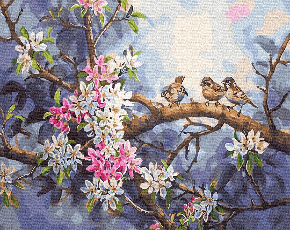 "Картина по номерам ""Весняні птахи"" Сложность: 1 (воробьи, цветущее дерево, дерево, яблоня)"