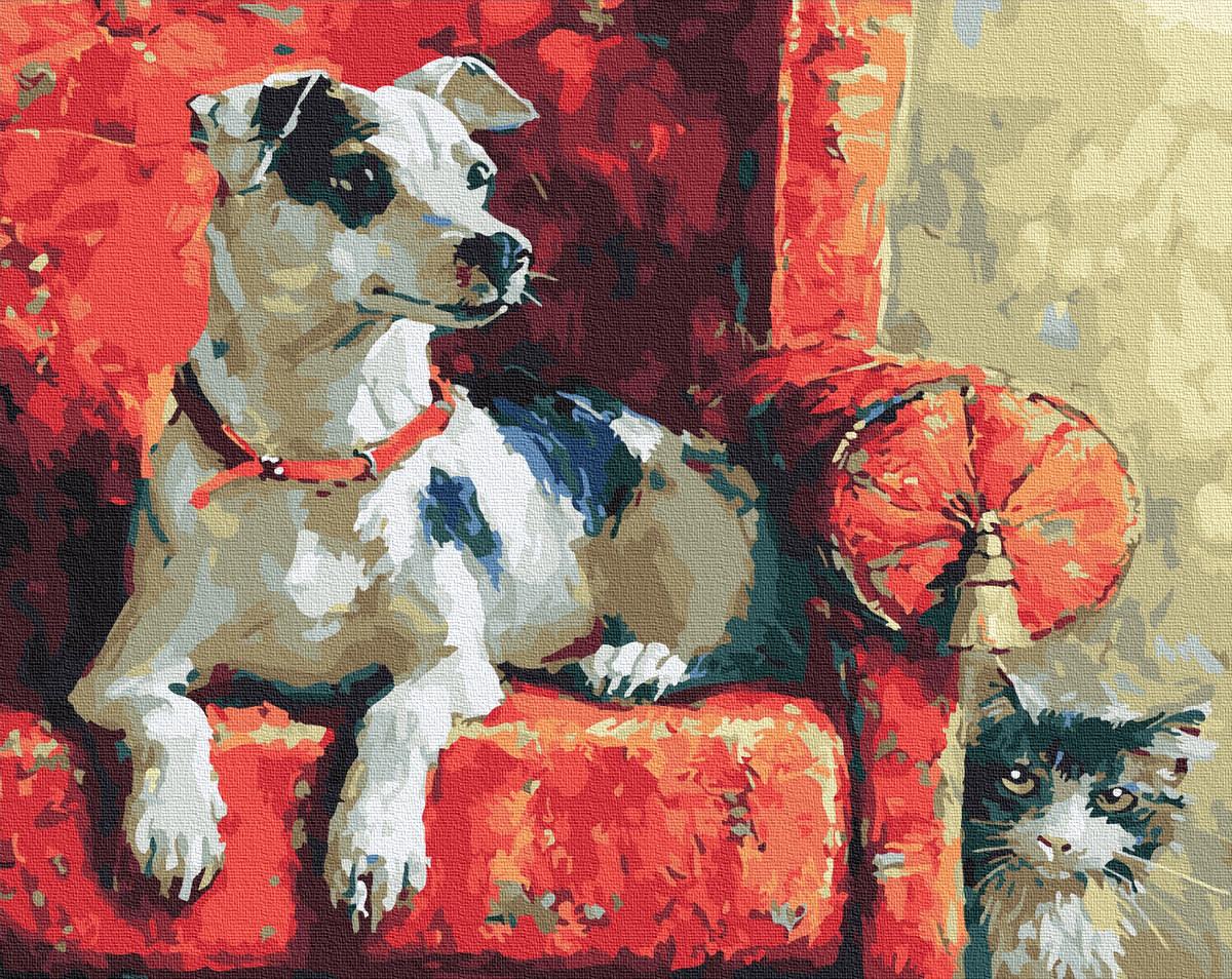 """Картина по номерам """"Гра в схованки"""" Сложность: 4 (собака, пес, щенок, собачка, кот)"""