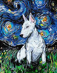 """Картина по номерам """"Доберман в зоряну ніч"""" Сложность: 3 (бультерьер, пес, собака, Ван Гог, звездная ночь)"""