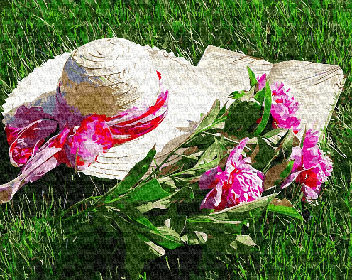 """Картина по номерам """"Капелюх з піонами"""" Сложность: 4 (пионы, цветочный букет, розовые пионы, шляпка, цветы,"""