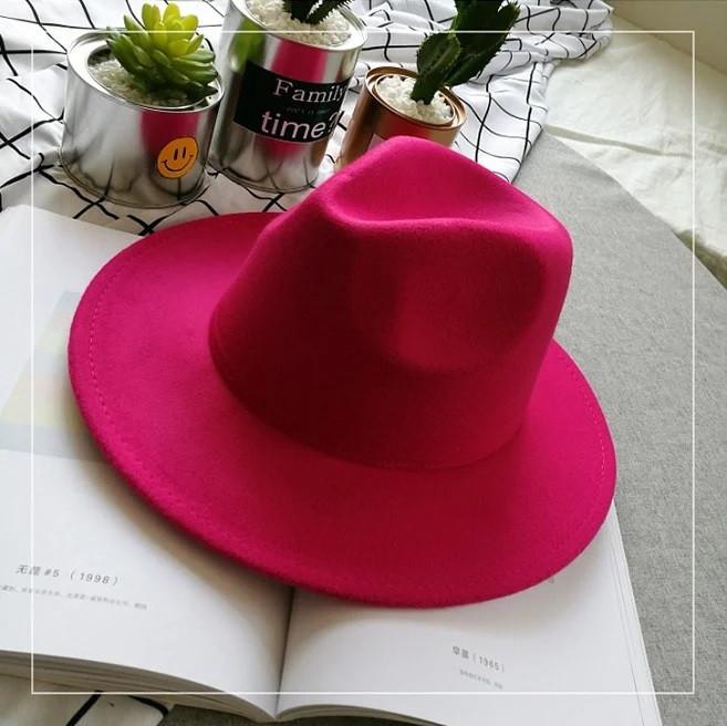 Шляпа женская фетровая Федора с устойчивыми полями малиновая (фуксия)