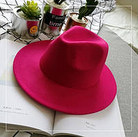 Шляпа женская фетровая Федора с устойчивыми полями малиновая (фуксия), фото 1