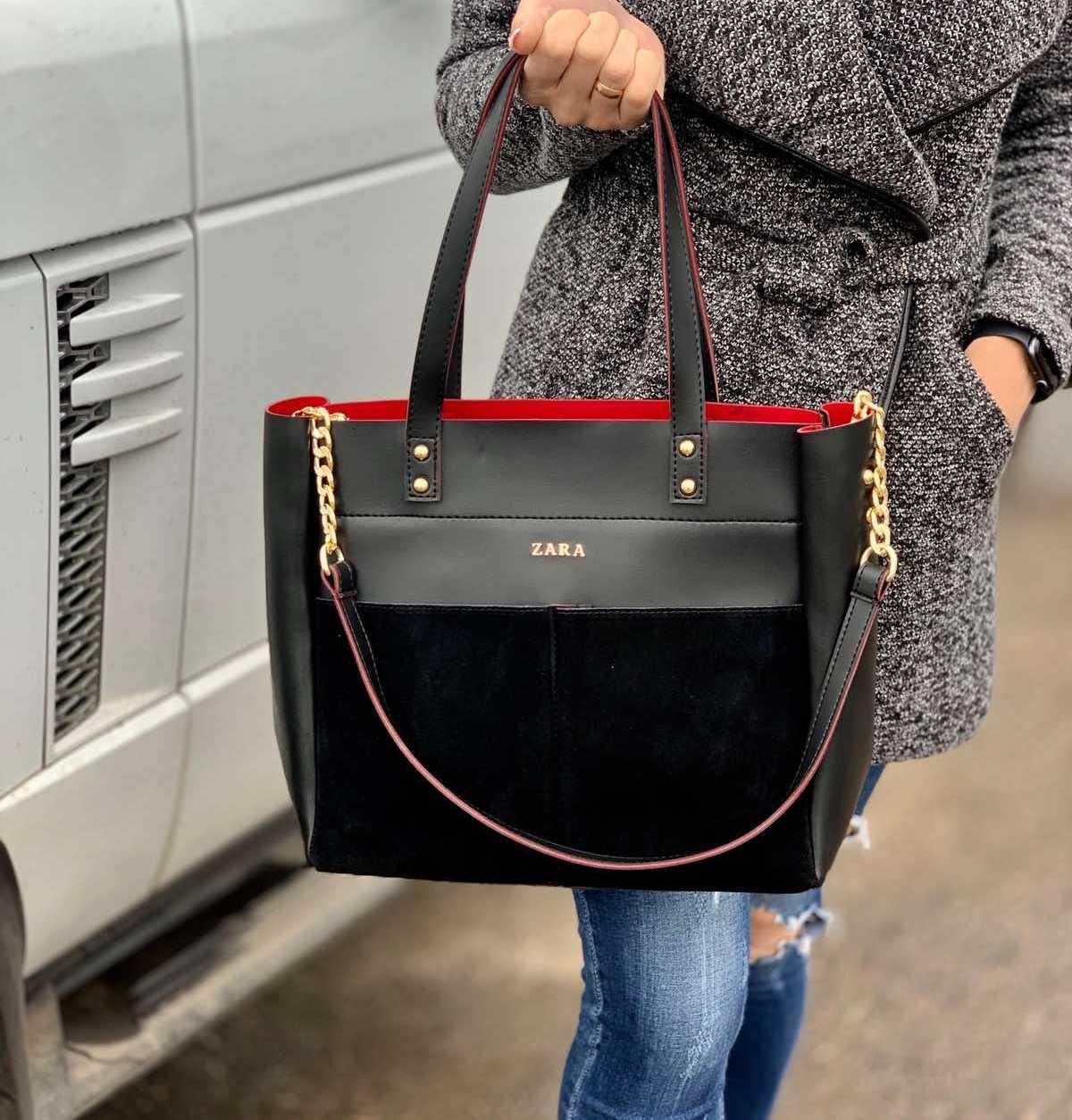 Большая замшевая черная женская сумка на плечо натуральная замша+экокожа