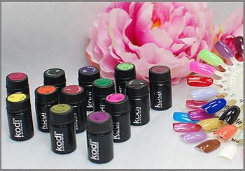 Цветные гели kodi professional 4 мл. для наращивания ногтей