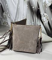 Замшевая сумка мешок женская на плечо вместительная сумочка натуральная замша+кожзам, фото 1