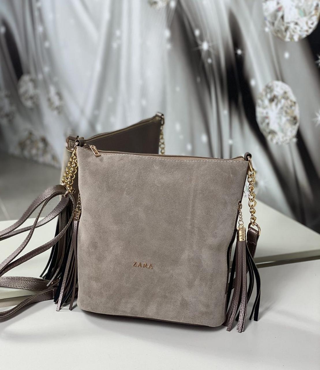 Замшевая сумка мешок женская на плечо вместительная сумочка натуральная замша+кожзам