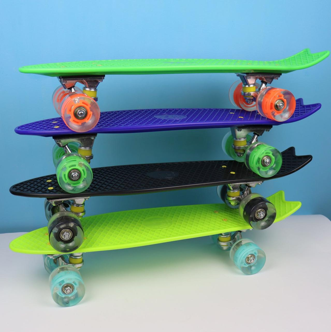 Скейт Пенни борд  Best Board, в разных цветах, свет, доска=55см, колёса PU  d=6см
