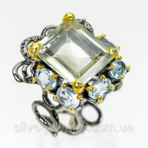 Серебряное кольцо с ПРАЗИОЛИТОМ (зеленый аметист), серебро 925 пр. Размер 19