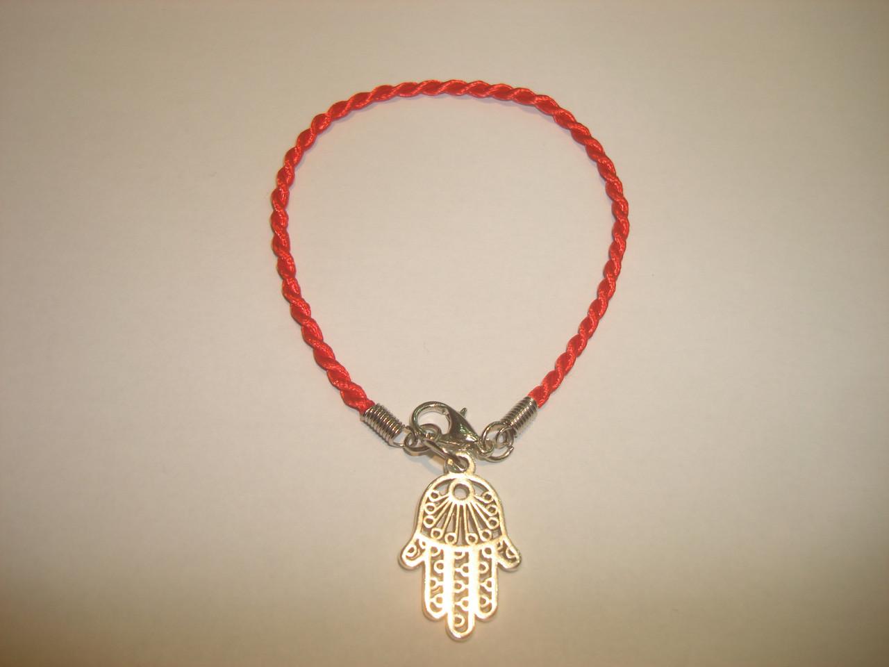 Красная нить Каббала с оберегом - «Хамса, Рука Фатимы»