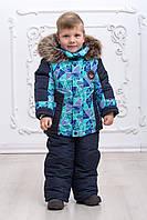 Зимний комбинезон на мальчика с опушкой на флисе овчине 2-4 года голубой, фото 1