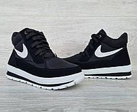 Стильные женские зимние ботинки на шнуровку с высокой платформой (БТ-6ч)
