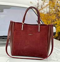 Замшевая бордовая большая женская сумка на плечо шоппер городская натуральная замша+экокожа