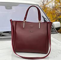 Большая городская бордовая женская сумка на плечо шоппер брендовая экокожа