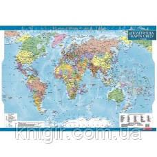 Світ 1:35 000 000 політична ламінована на планках
