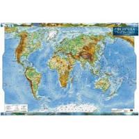 Світ 1:35 000 000 фізична ламінована на планках