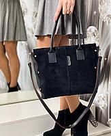 Большая черная замшевая женская сумка на плечо шоппер городская модная натуральная замша+экокожа
