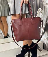 Большая бордовая вместительная женская сумка на плечо шоппер городская модная экокожа