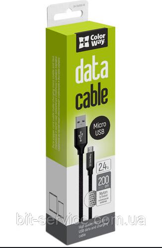 Кабель ColorWay USB-MicroUSB (2.4А), 2м Black (CW-CBUM009-BK)