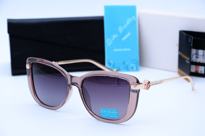 Жіночі сонцезахисні прямокутні окуляри Rita Bradley рожеві 709 с03
